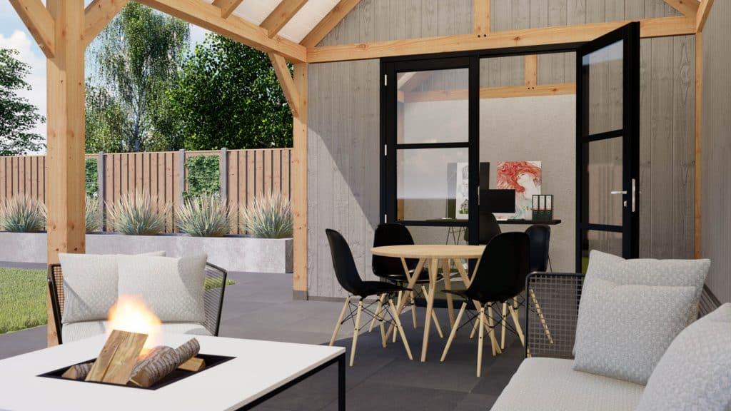 Luxe tuinhuis met overkapping, Luxe tuinhuis met overkapping